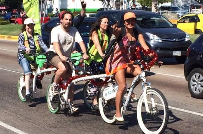 Acapulco CIty and Food Tour on a Tandem Bicycle During this tour you will get to see the new and old parts of Acapulco on a tandem bicycle. You will also discover the streets, avenues, parks and squares of the city.This a way to get to know the city in a new way.The tour starts atyour hotel where you will be picked in an air conditioned van driven by an English speaking professional tour guide who will drive you to the departure point located at the central p...