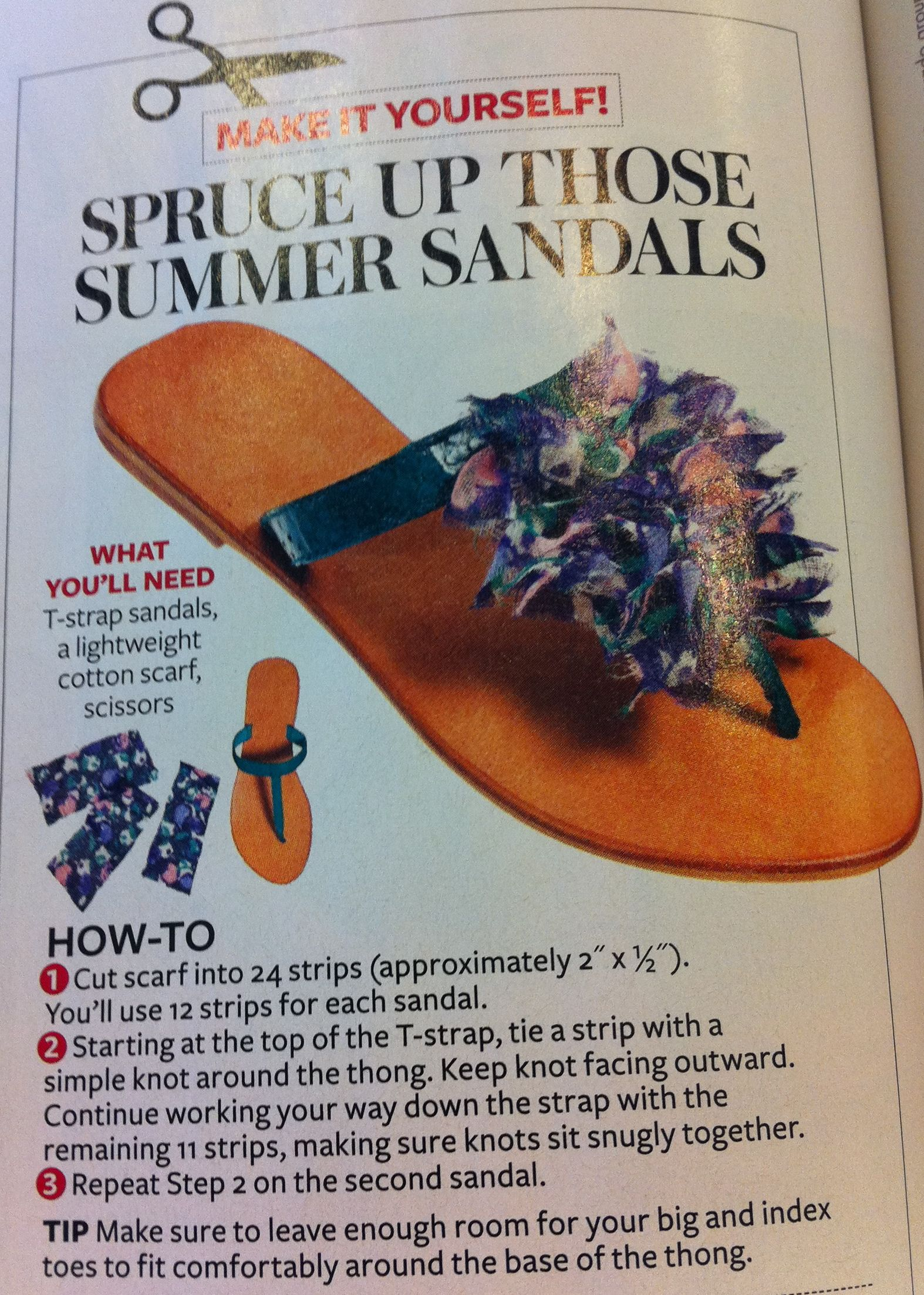 DIY sandals. Re-fashion last year's or cheap clearance find sandals