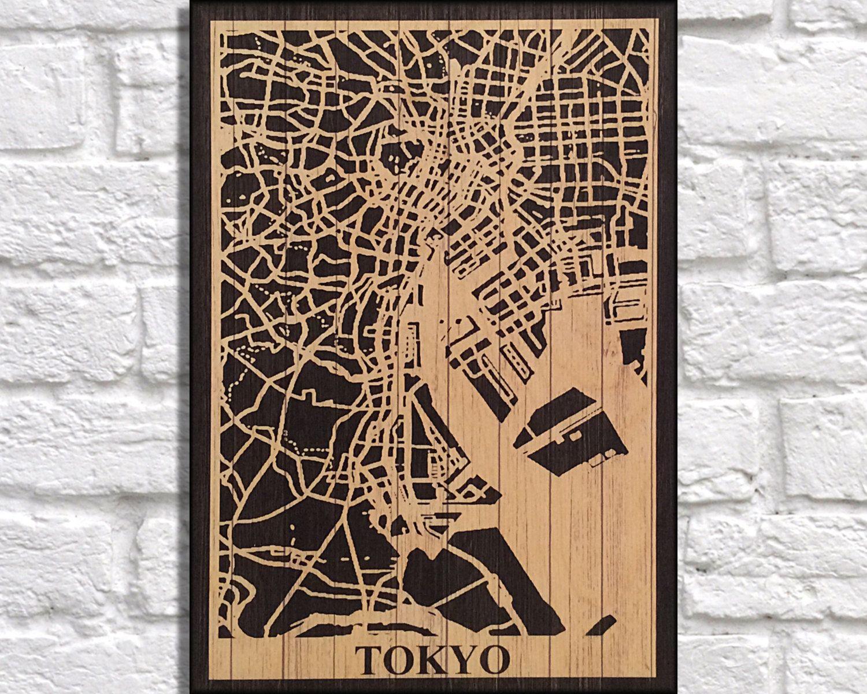 WOOD PRINT Wood map art, Rustic wood print, Japan Tokyo city map panel effect art print on wood, Decor Rustic map of Japan Tokyo  art print by Woodprintz on Etsy