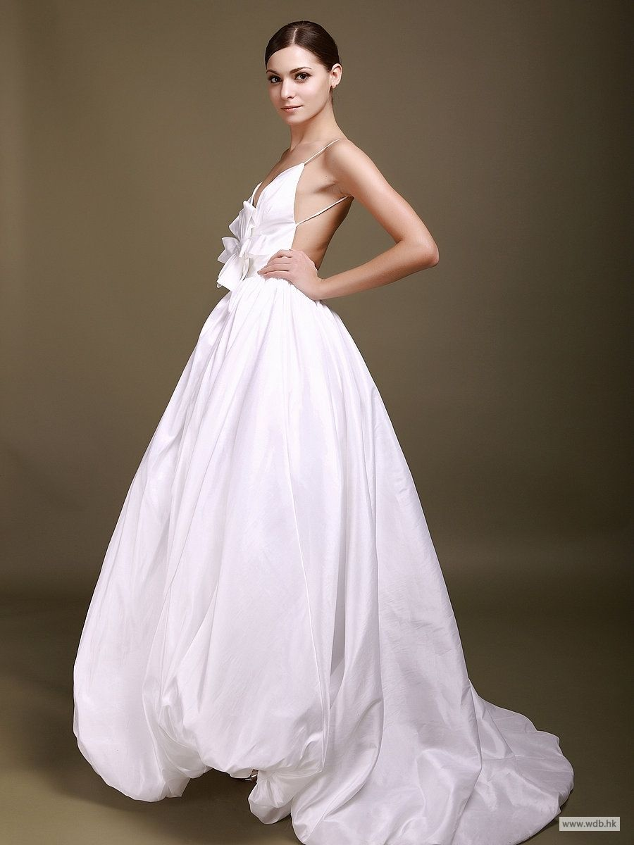 Short Bridesmaid Dresses Deep V Backless Wedding Gown With 3d Flower