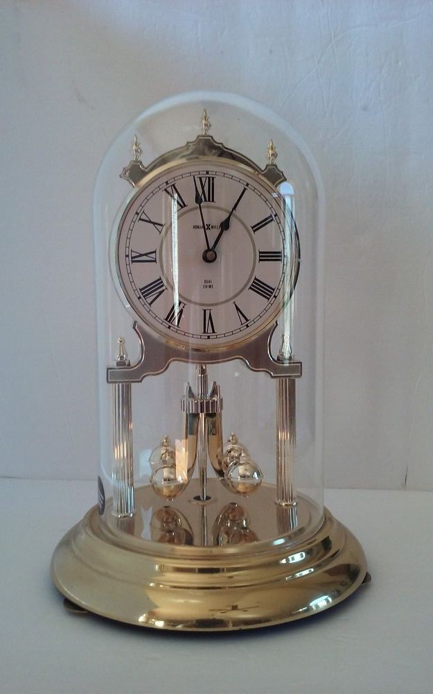 Vintage Howard Miller Dual Chime 12 Anniversary Clock And Gl Dome Ave Maria