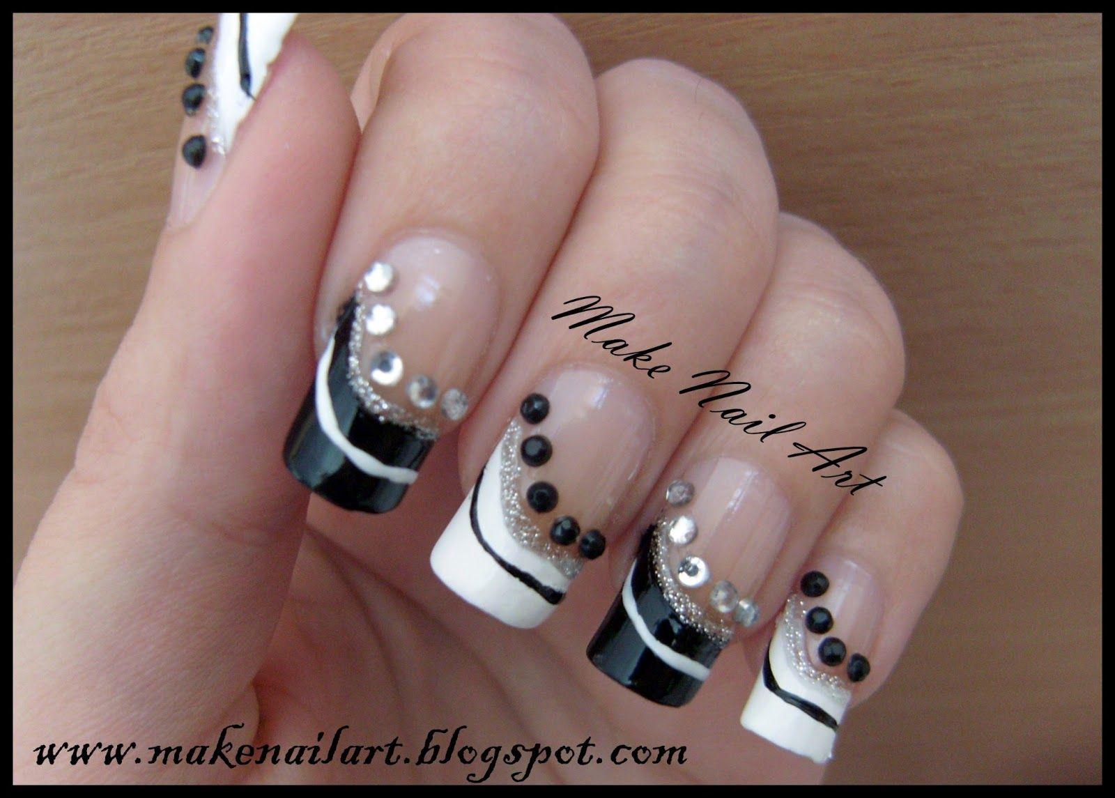 Make Nail Art: Black And White Prom Nails Nail Art Tutorial | Nails ...