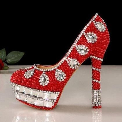 New Arrival Red Crystal High Heels Bride Wedding Shoes