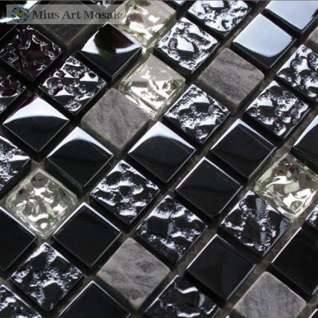 Black Glass Tiles Wall Mosaic Kitchen Mosaic A4D12   ICON2 Luxury Designer  Fixures Black #glass