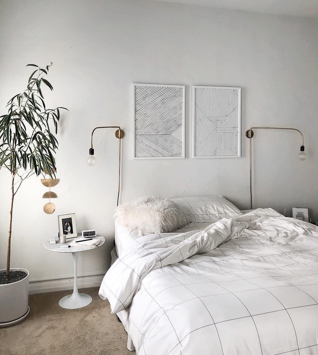 Master Bedroom Design Inspiration Neutral Palette With Brass Decor Minimalist Scandinavian Style Inredning