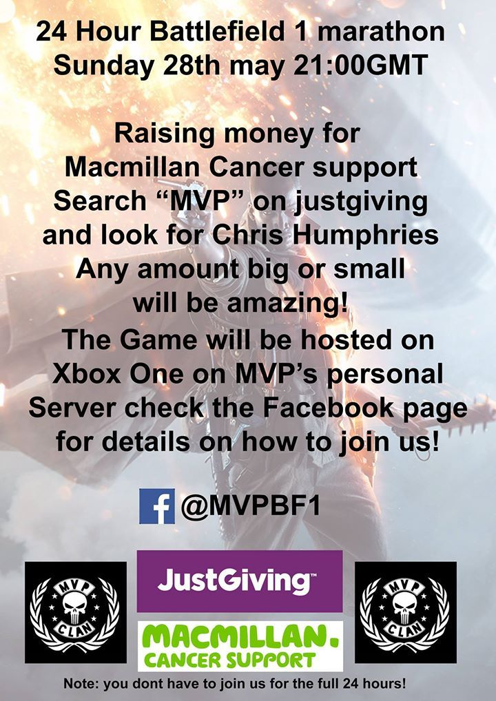 http://ift.tt/2ryJj1s are doing a 24 hour Battlefield 1 Marathon for Macmillan Game Heroes please donate or drop by the server!