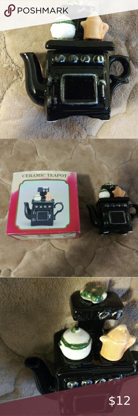 Vintage 1980's Ceramic Black Stove Teapot in 2020 Tea