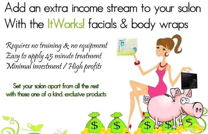 Do you own or work in a salon? Add It Works products to your menu of services for an all natural, easy to use way of increasing your profits.  https://lindamax.myitworks.com/