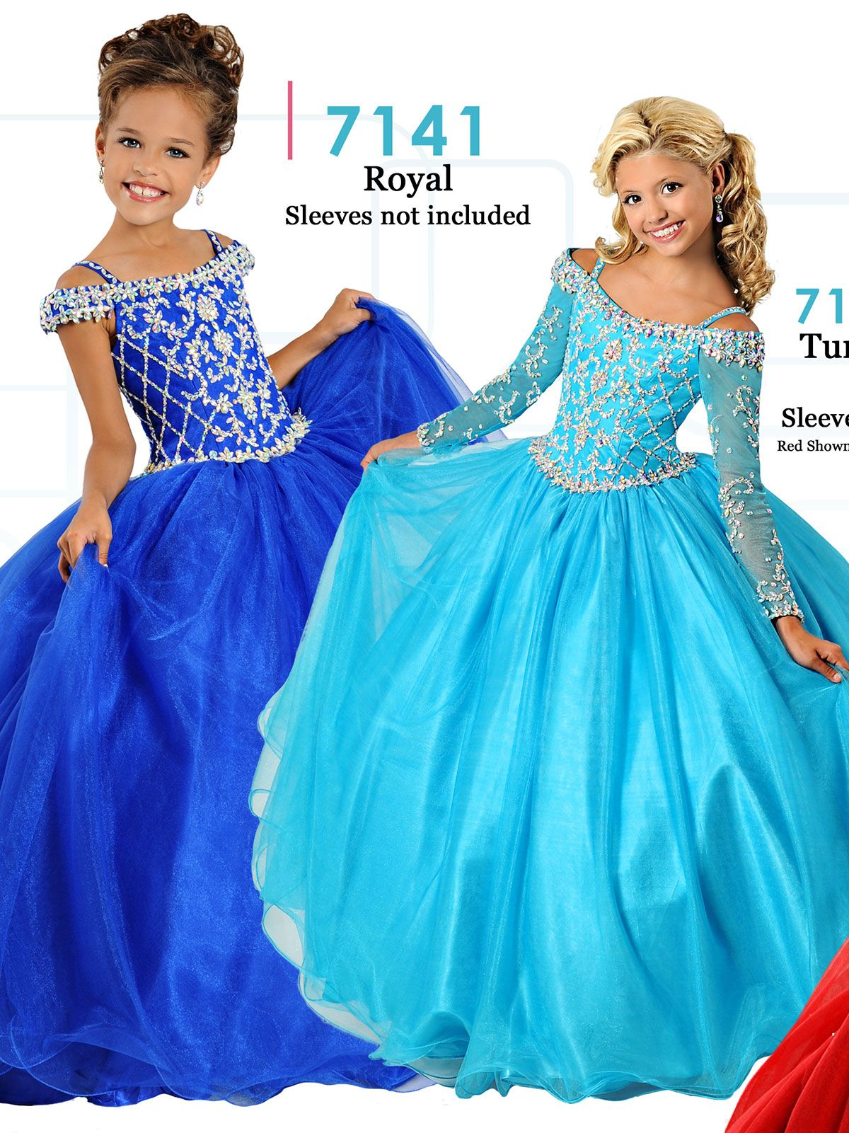 63c1ae818890 Let your beautiful girl stand out on stage in this Ritzee Girls pageant  dress. This Ritzee Girls pageant dress 7141 features an off the shoulder  neckline ...
