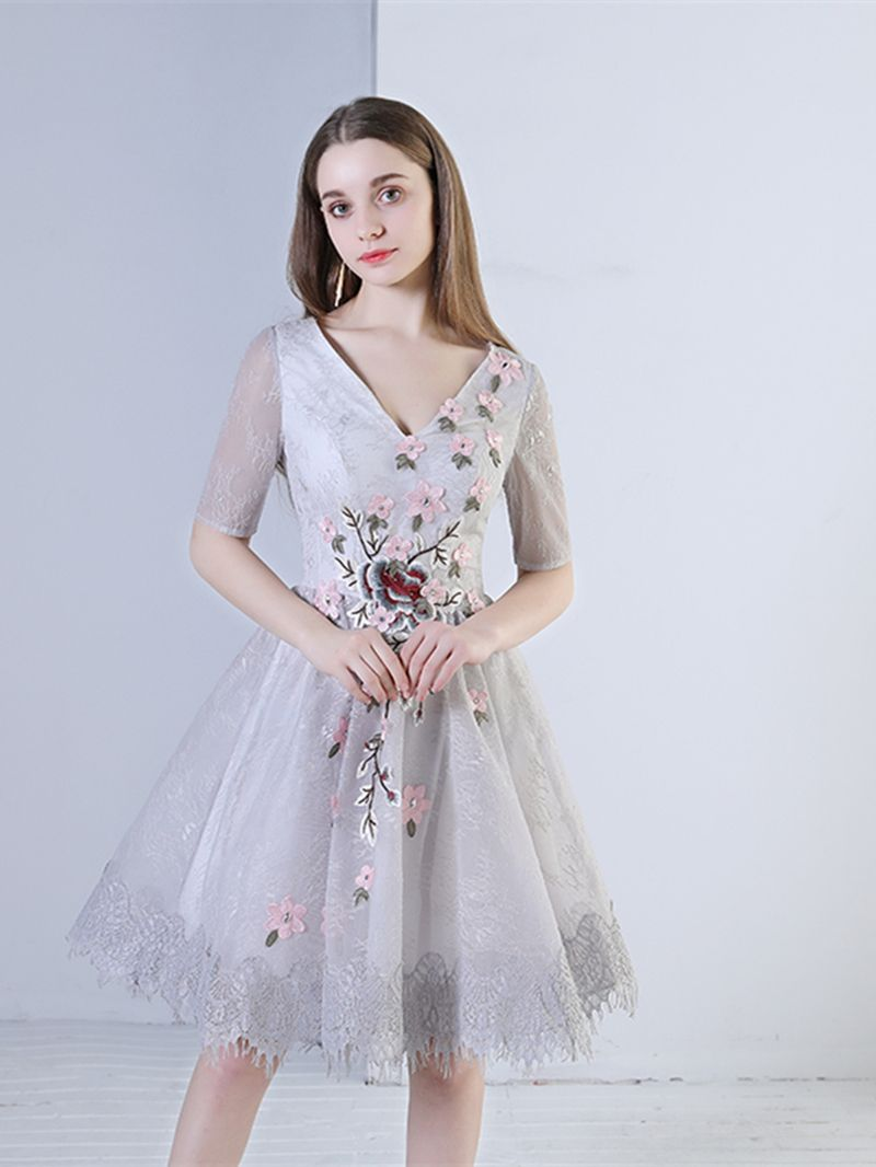 Pretty vneck beading embroidery lace flowers homecoming dress