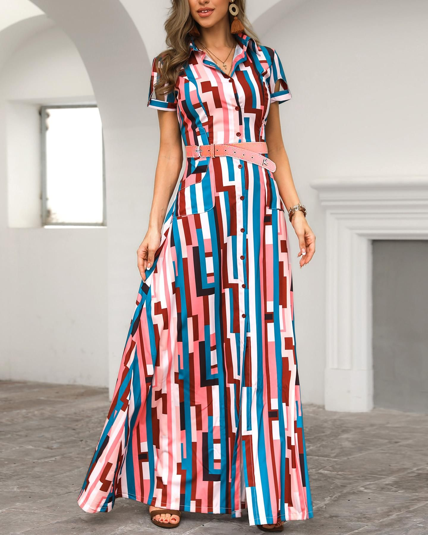 54c1120b82137 Colorful Striped Print Shirt Maxi Dress in 2019 | Dresses | Dresses ...