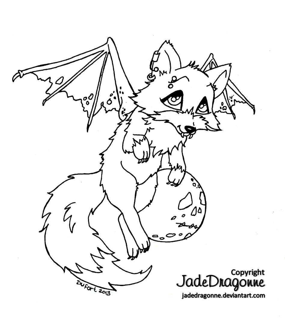 Vampire Fox - Lineart by *JadeDragonne on deviantART   ausmalen ...