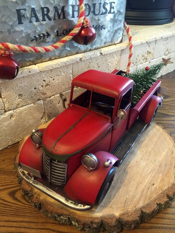 Red Truck Christmas Old Timey Tree Primitive Farmhouse Decor Holiday Sleigh Bells Ring