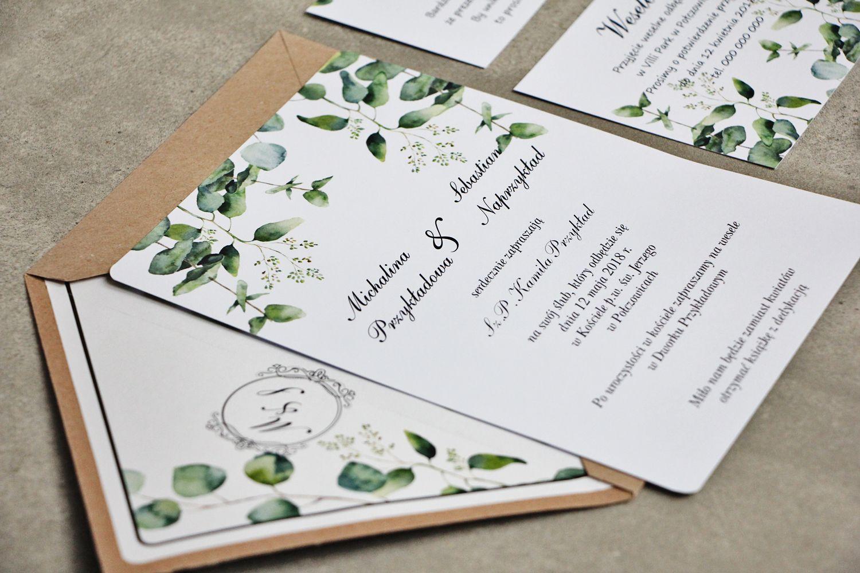 Zaproszenia ślubne Z Eukaliptusem ślub Greenery Zieleń Na ślubie