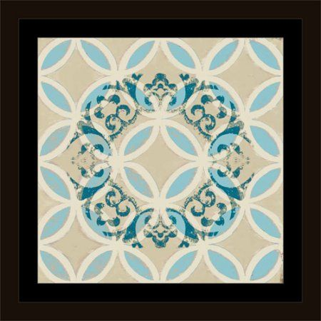 Abstract Textured Medallion on Circle Pattern Blue, Framed Canvas Art by Pied Piper Creative, Size: 30 x 30, Brown