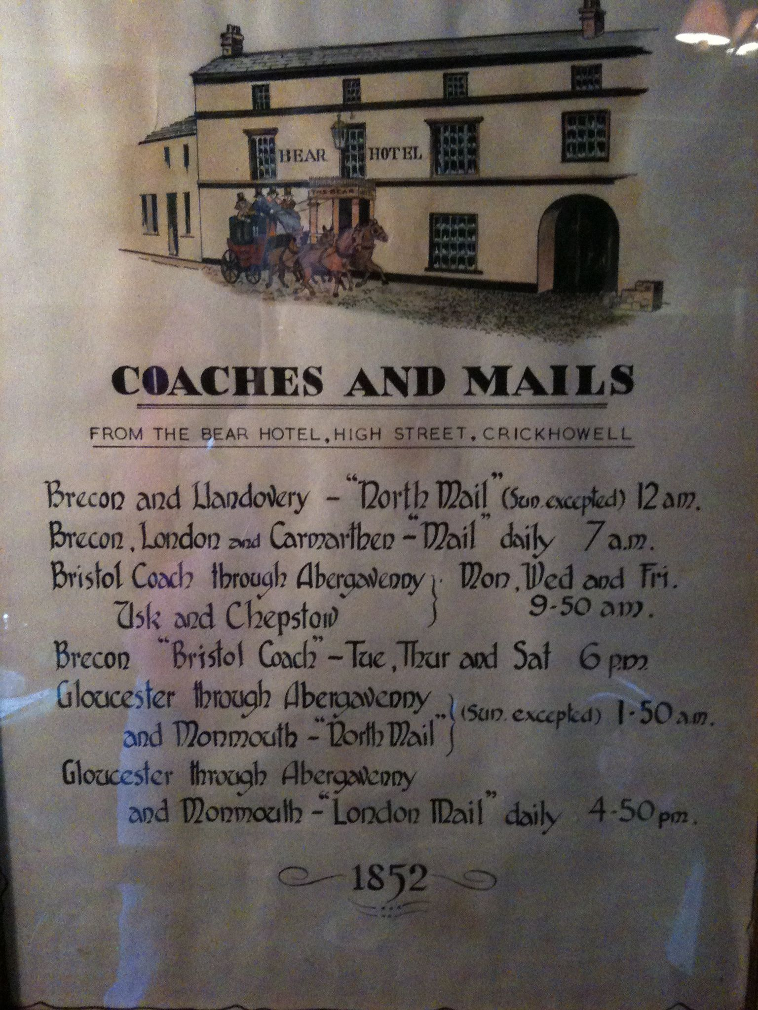 Coaches and mails schedule from the bear hotel high