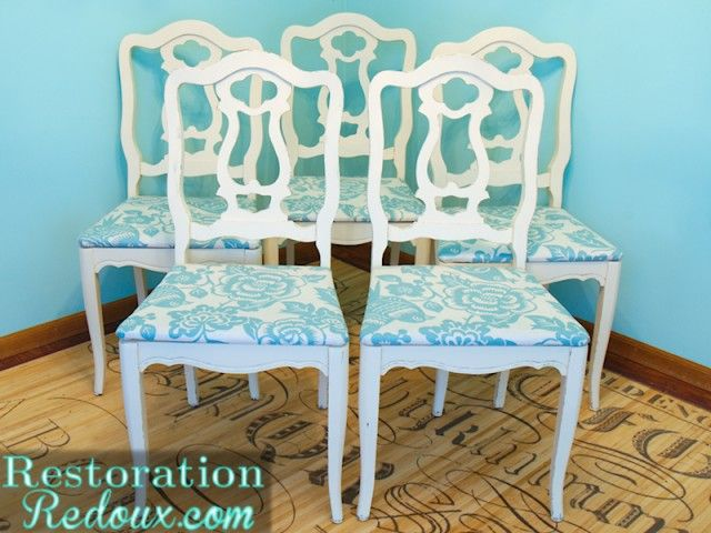 Turquoise And White Chair Transformation