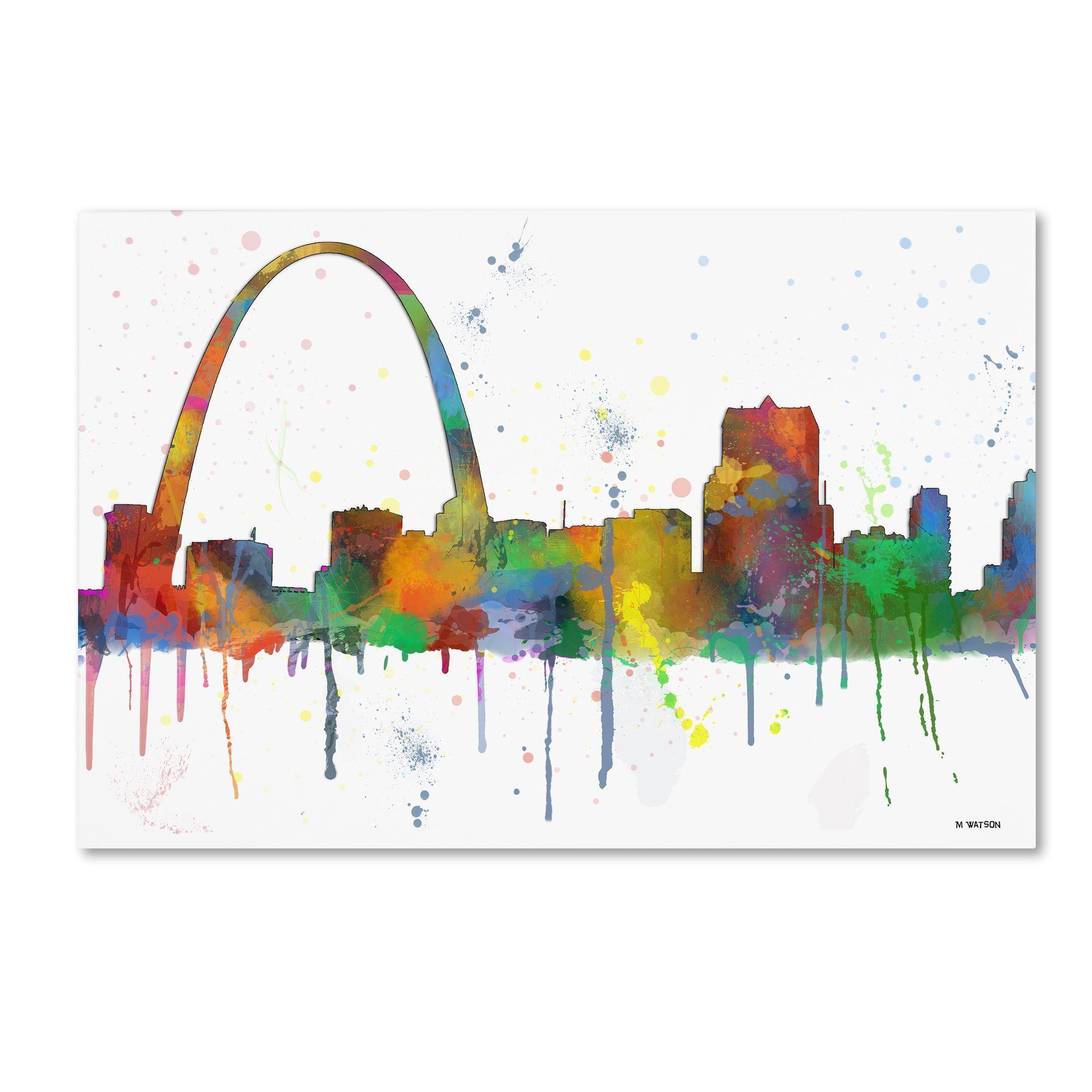 Marlene Watson 'Gateway Arch St Louis Skyline Mclr-1' Canvas Art