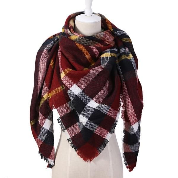 0f078385e2fee 2018 Winter Triangle Scarf For Women Brand Designer Shawl Cashmere Plaid  Scarves Blanket Wholesale Dropshipping OL082