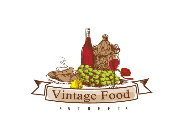 Rustikal, Tradition, Gourmet, warme Farben. Vintage Food Logo Design ...