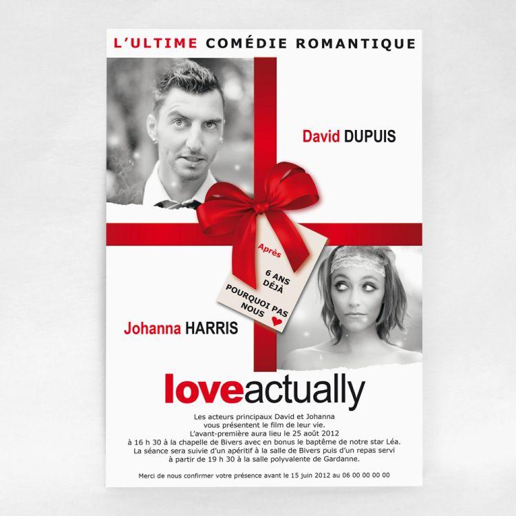 Faire-part mariage cinéma Love Actually
