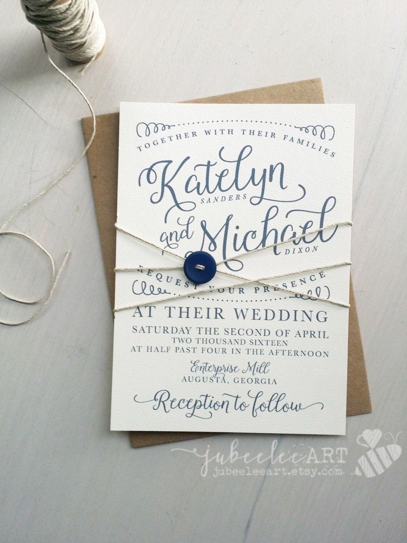 Modern navy calligraphy wedding invitation printable PDF