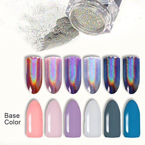 BORN PRETTY 9 Boxes Pearl Powder Nail Mirror Effect Colorful Nails Art Glitter Iridescent Metallic Manicuring Pigment 1G | Unicorn Rainbow Shop