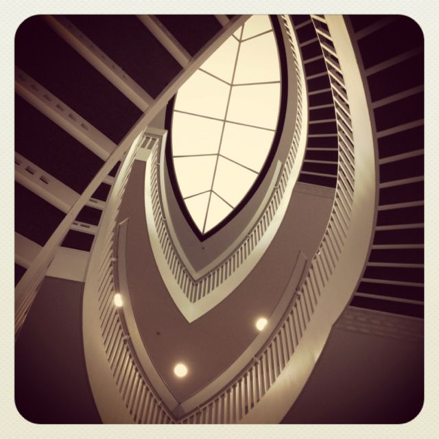 Stairwell at contemporary art museum in Chicago