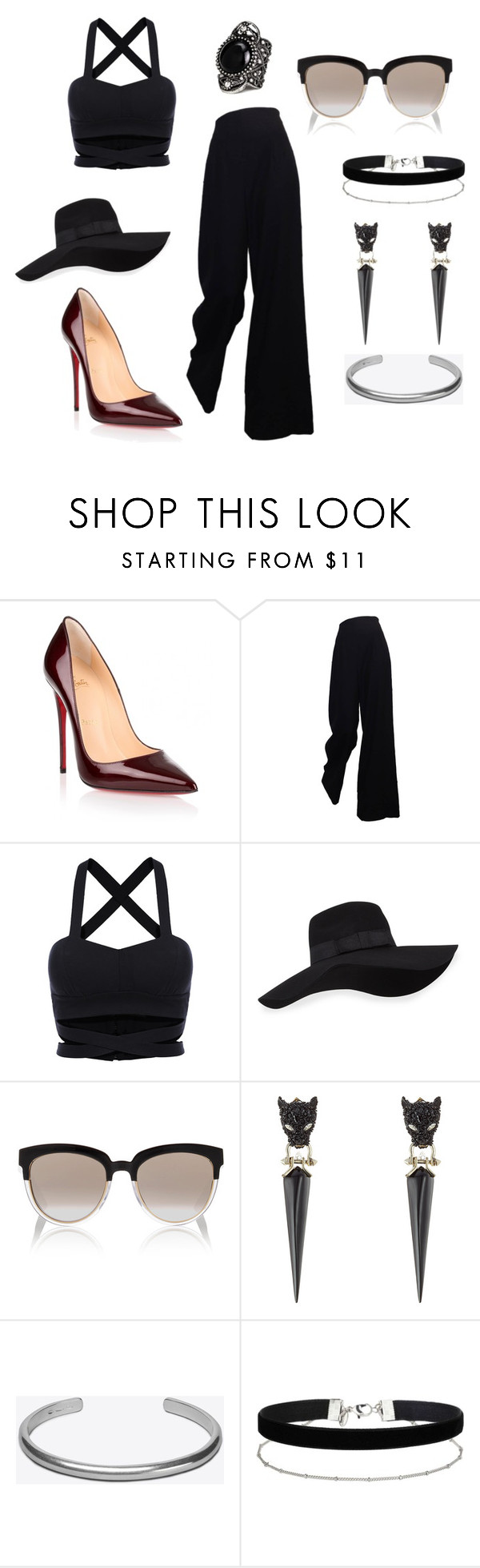 """""""Untitled #355"""" by chilosa3325 on Polyvore featuring Christian Louboutin, The Row, San Diego Hat Co., Christian Dior, Alexis Bittar, Maison Margiela and Miss Selfridge"""