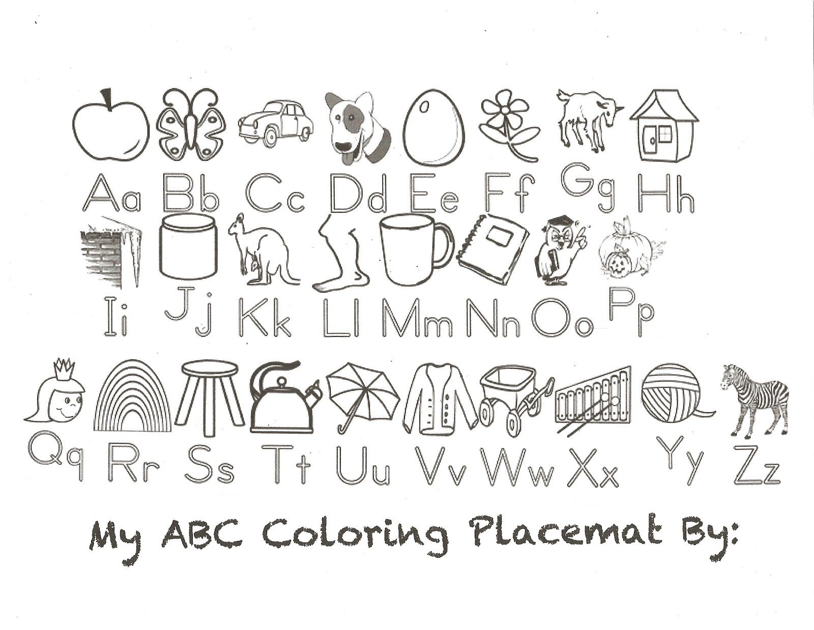 Abc coloring placemat preschool pinterest placemat for Alphabet pages to color
