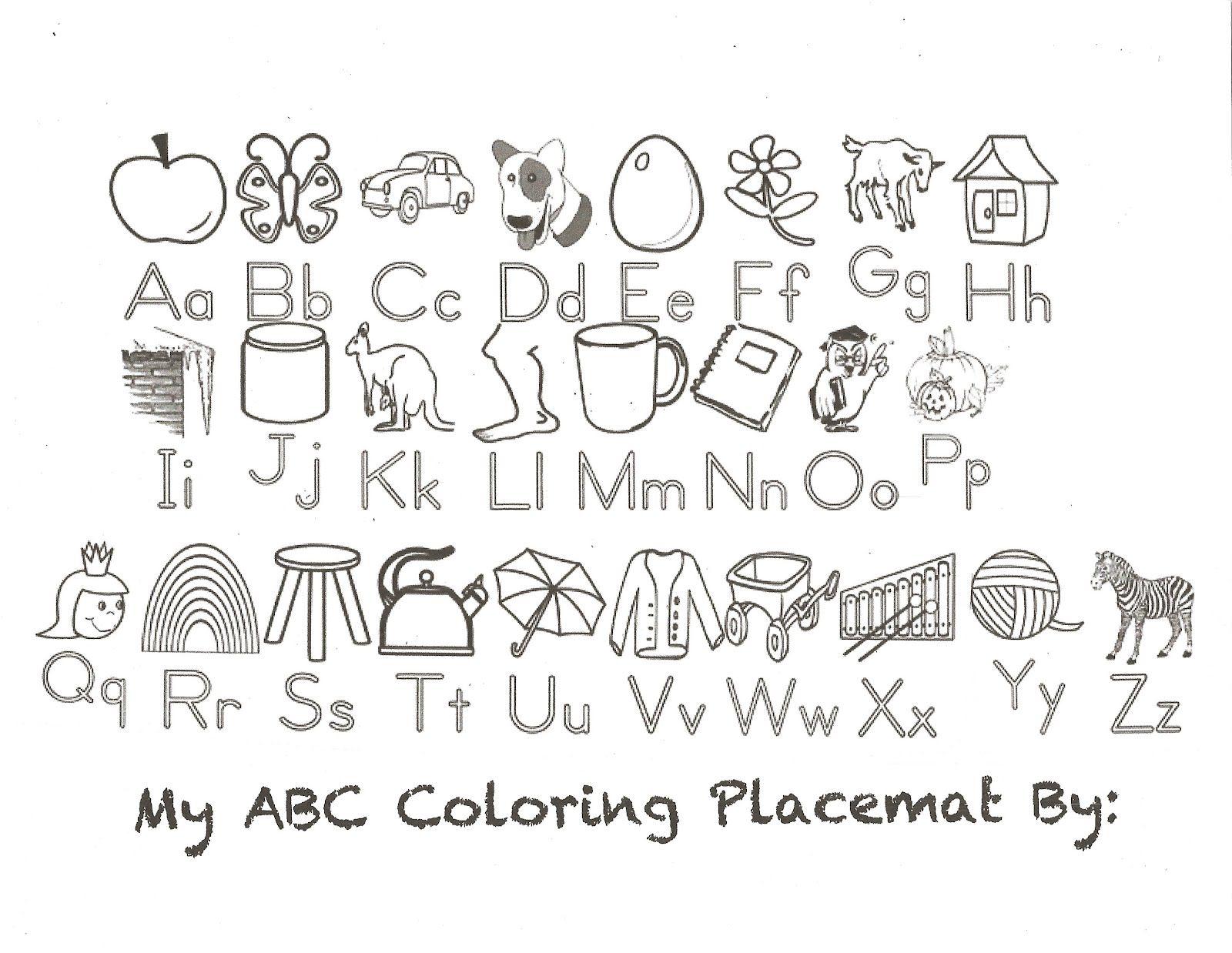 ABC Coloring Placemat Abc coloring pages, Alphabet