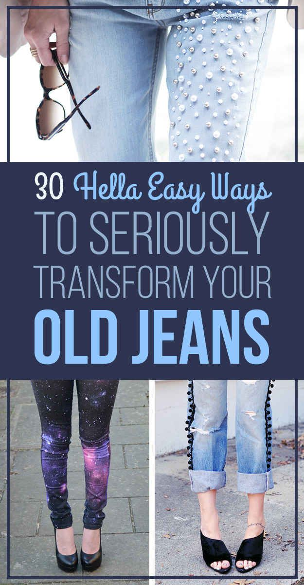 8a02fc134f 30 Hella Easy Ways To Seriously Transform Your Old Jeans | DIY | Diy ...