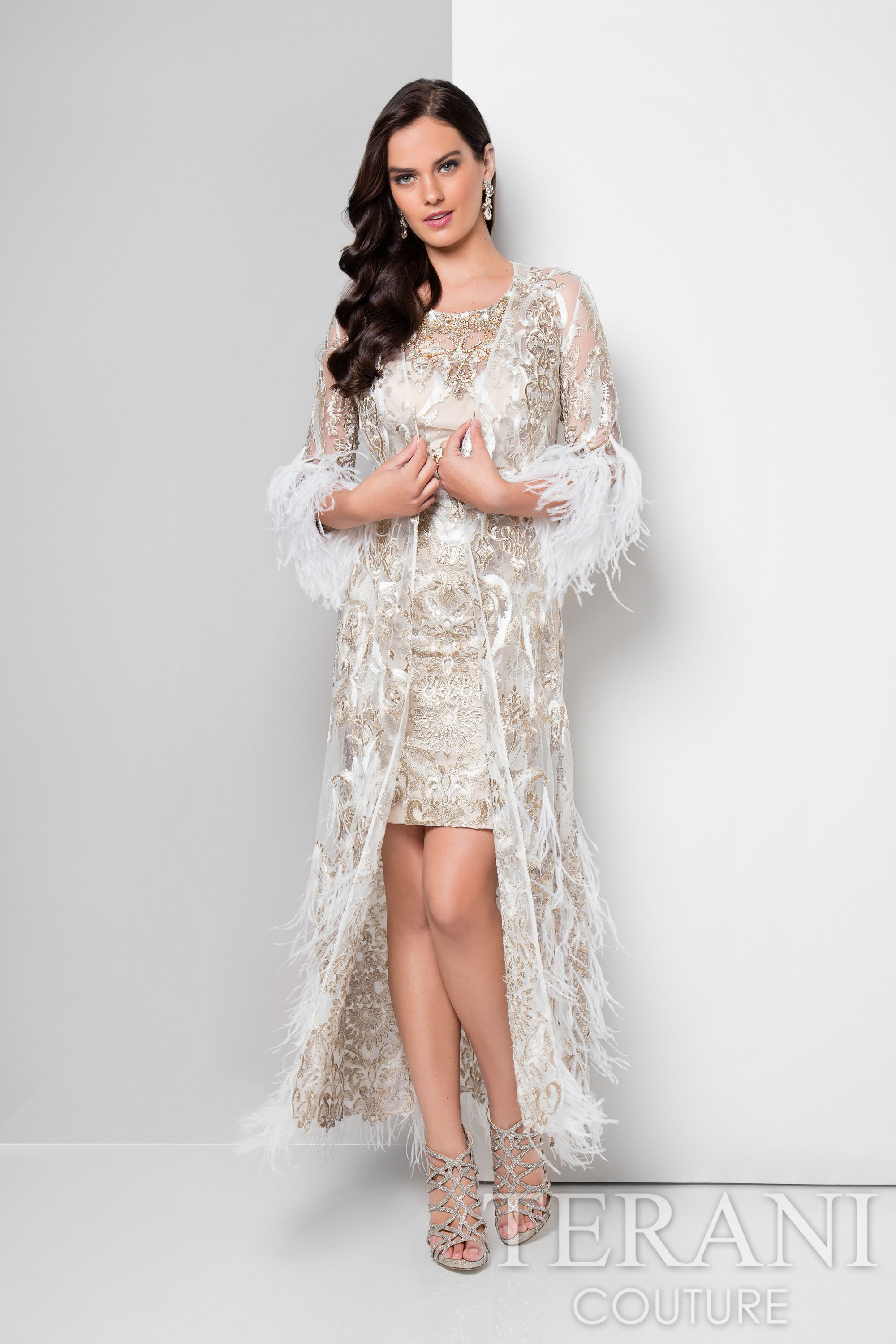 Ivory gold two piece cocktail dress featuring a luxurious sheer coat ...