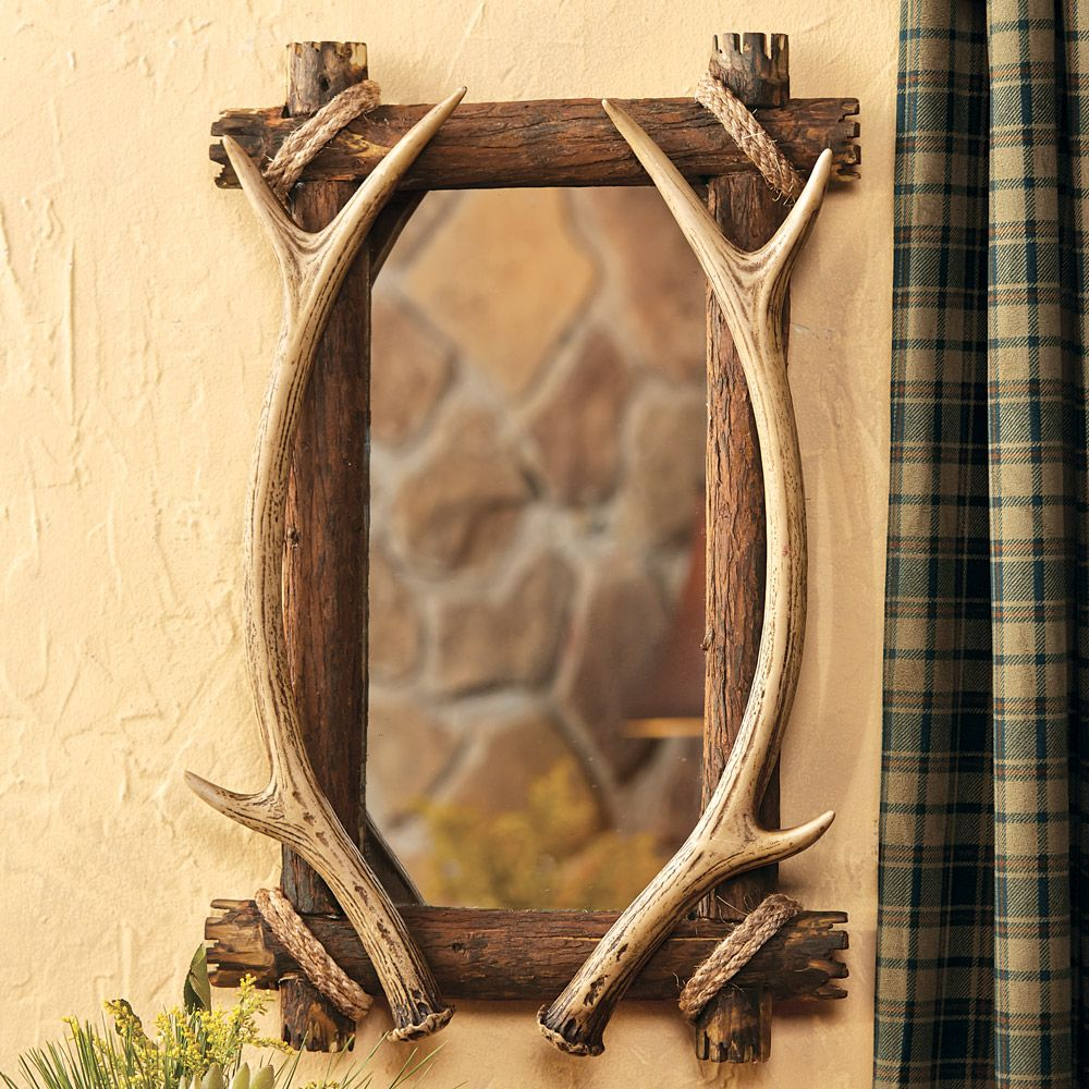 Antler wood mirror for bathroom vanity in a rustic for Wood bathroom wall decor