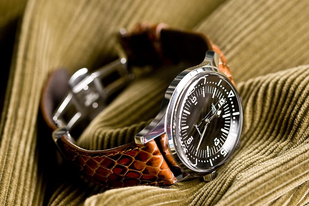 Longines Legend Diver with python strap by Camille Fournet