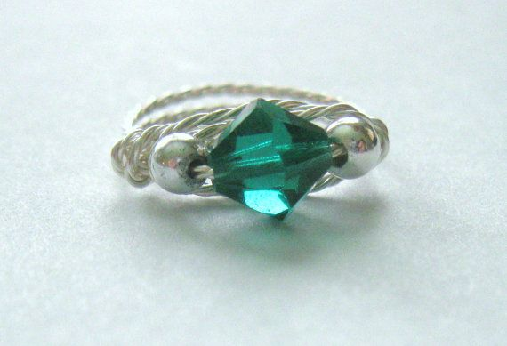 ee8558332 Ring Wire Wrapped Handmade Emerald Green Crystal Birthstone Unique OOAK Swarovski  Sterling Silver Plated