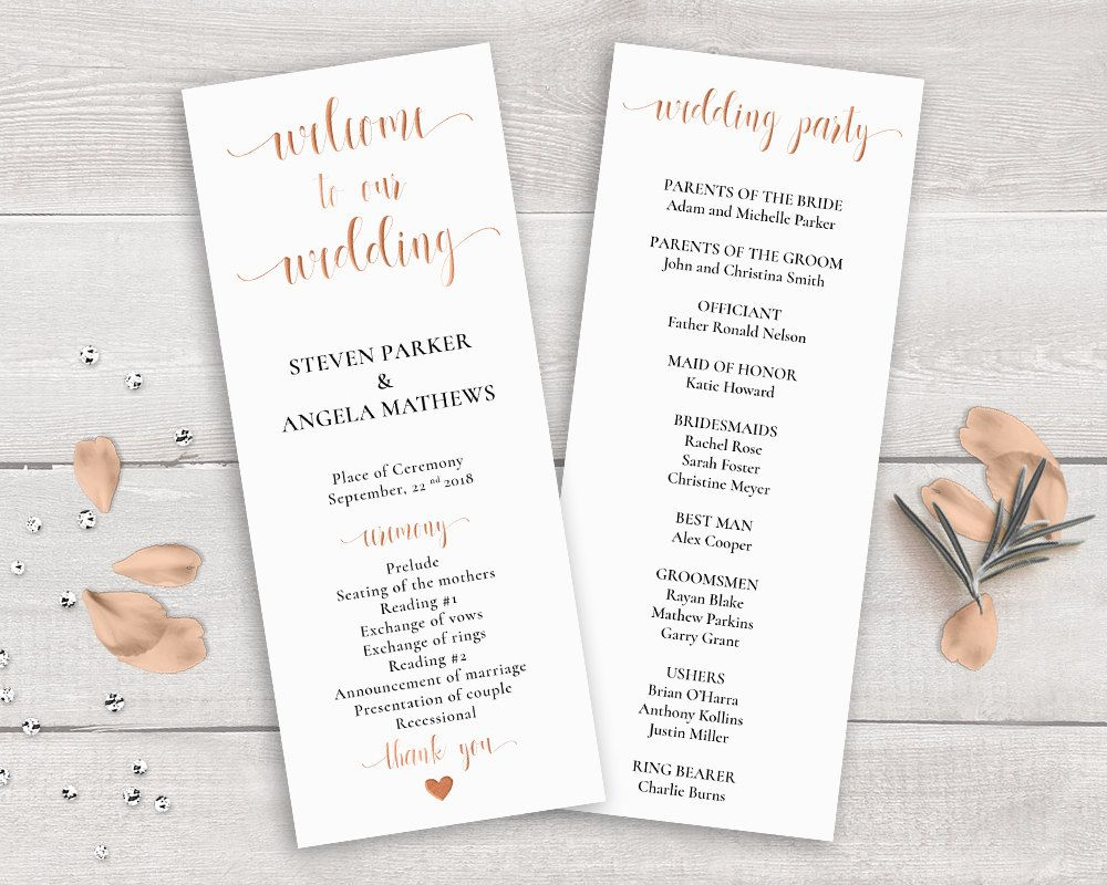 Rose Gold Wedding Program Template Order Of Ceremony Printable Copper Party By Novaprintables