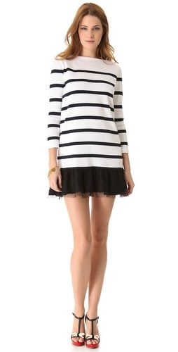 RED Valentino Striped Sweater Dress with Chantilly Lace  942bf78f1
