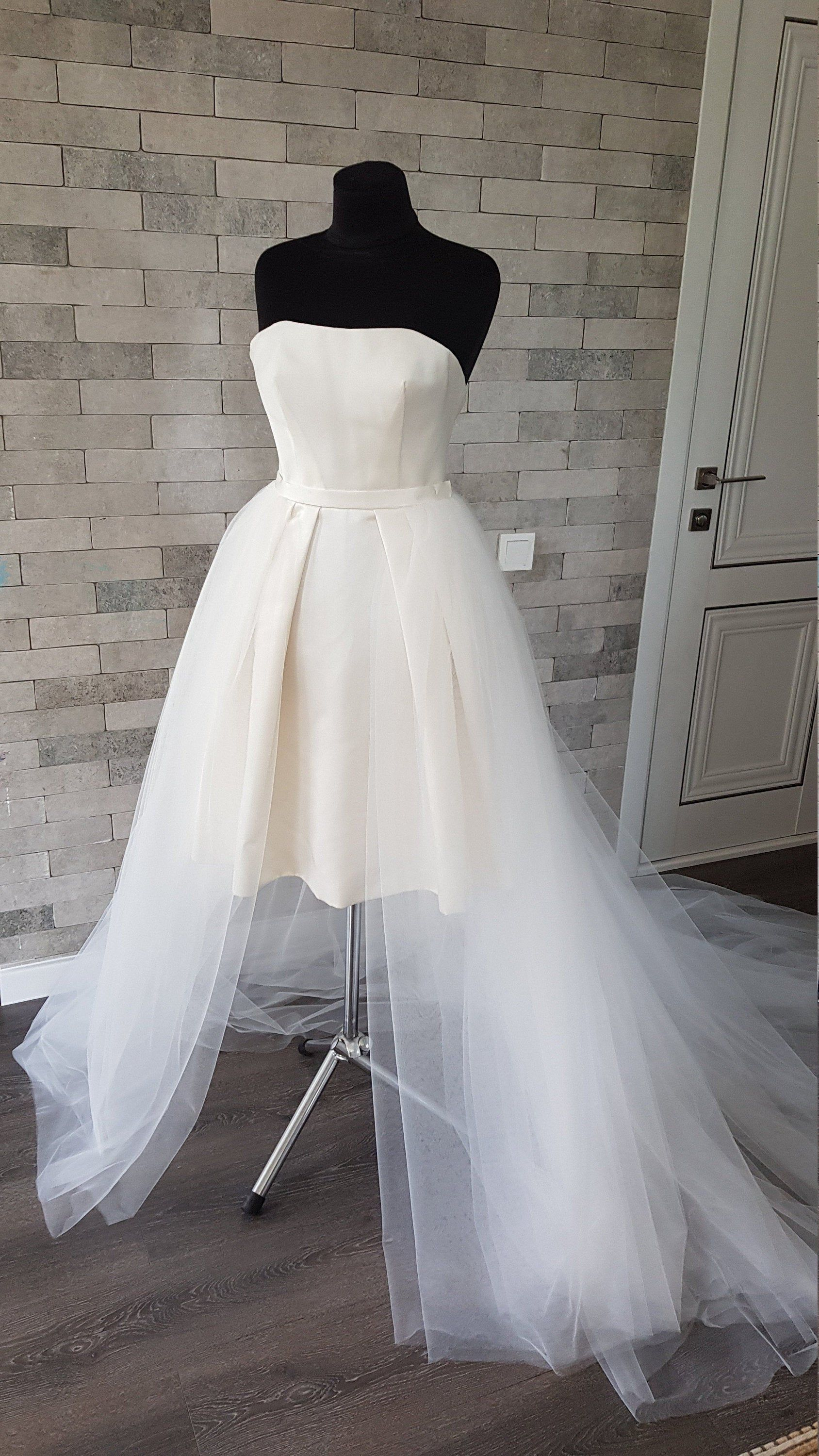 Extra long detachable tulle train removable tulle train