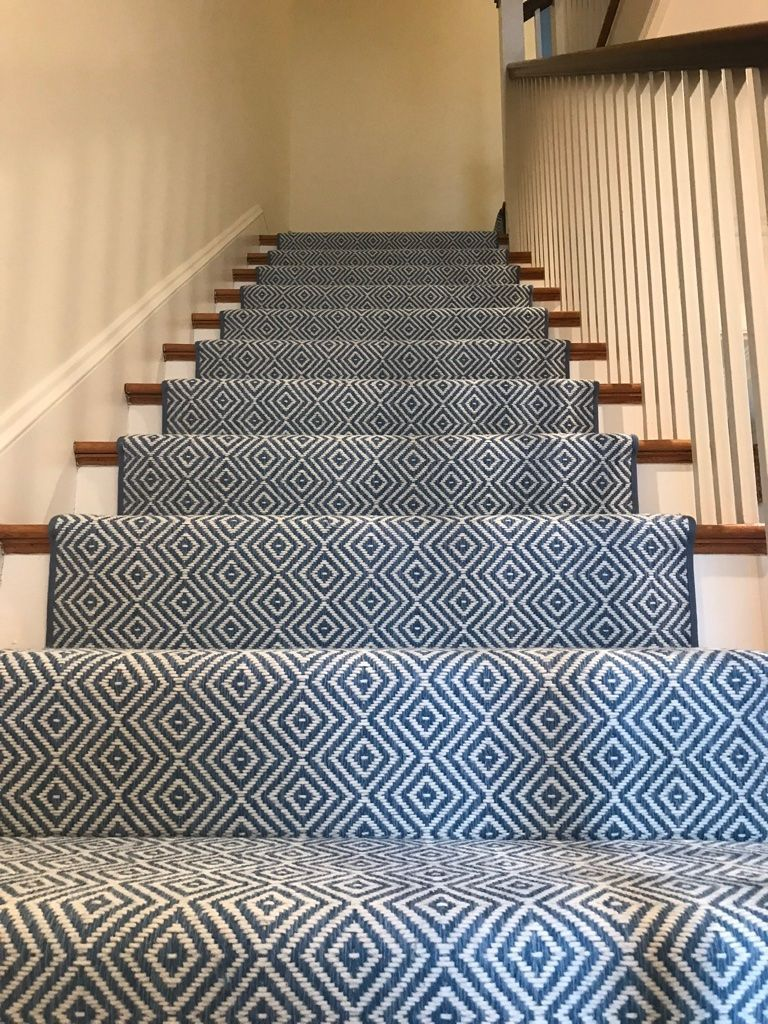Stair Runner Idea With Indoor Outdoor Carpeting Pattern Will Hide Everything An Patterned Stair Carpet Stair Runner Carpet Carpet Stairs