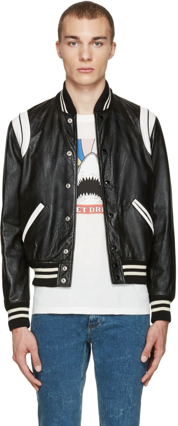 ffb190ac5 SAINT LAURENT Black & White Leather Teddy Bomber Jacket ...