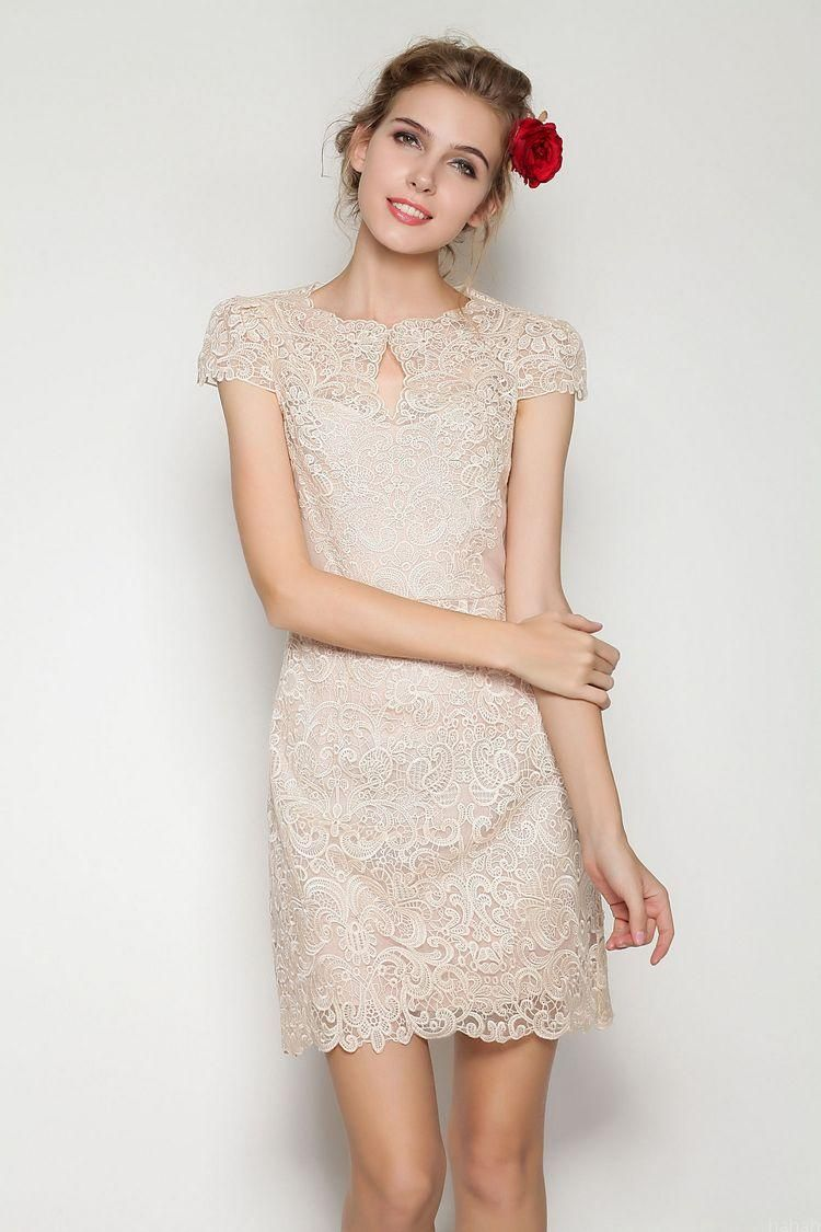 Apricot short sleeve scallop u neckline lace bodycon dress