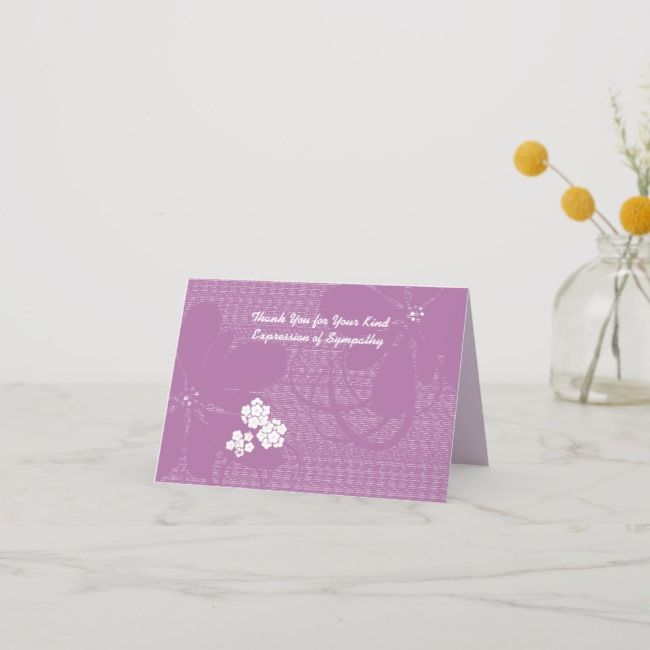 Thank You for Sympathy, Pastel Purple Floral |  Thank You for Sympathy Pastel Purple Floral