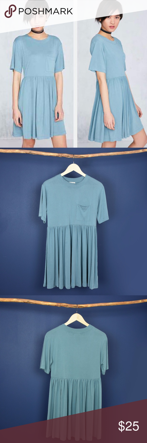 83899cfba11a silence + noise Cupro Babydoll Mini T-Shirt Dress Loose fitting ...