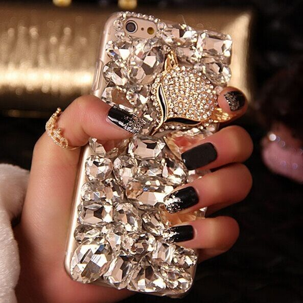 Fashion lady Handmade Bling Fox Crystal Diamond Back Cover Case For iPhone 5 5S…