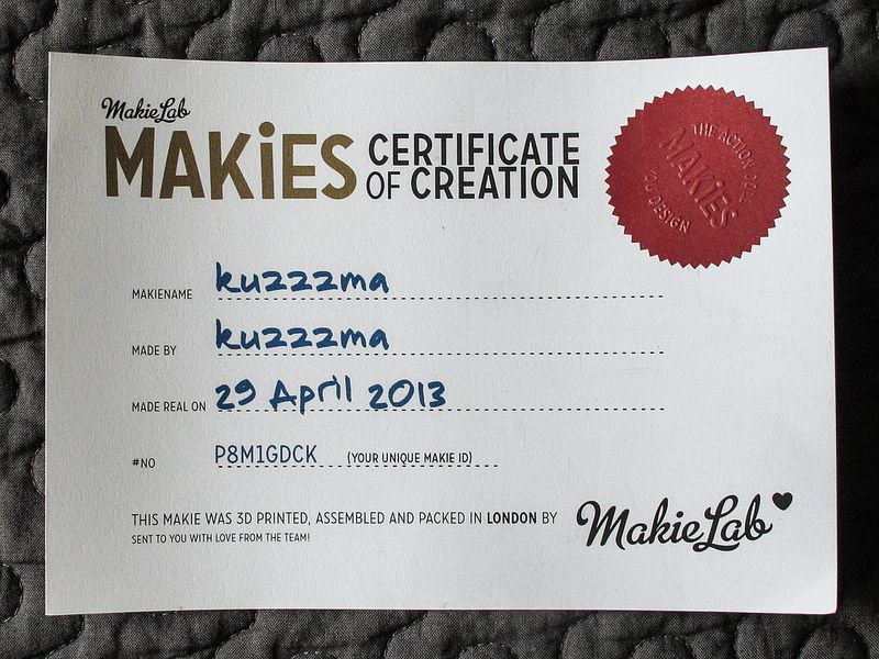 Makie Certificate of Creation