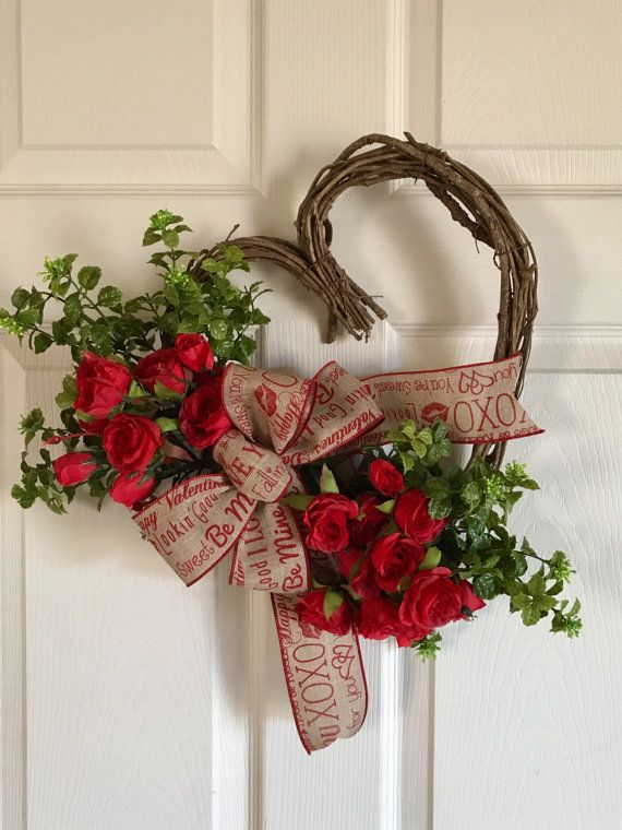 Valentine Wreath Heart Wreath Valentine Red Rose Wreath Valentine Door Hanger Valentines Wreath Wildflower Wreath Valentine Wreath Diy Diy Valentines Decorations Valentine Door Decorations