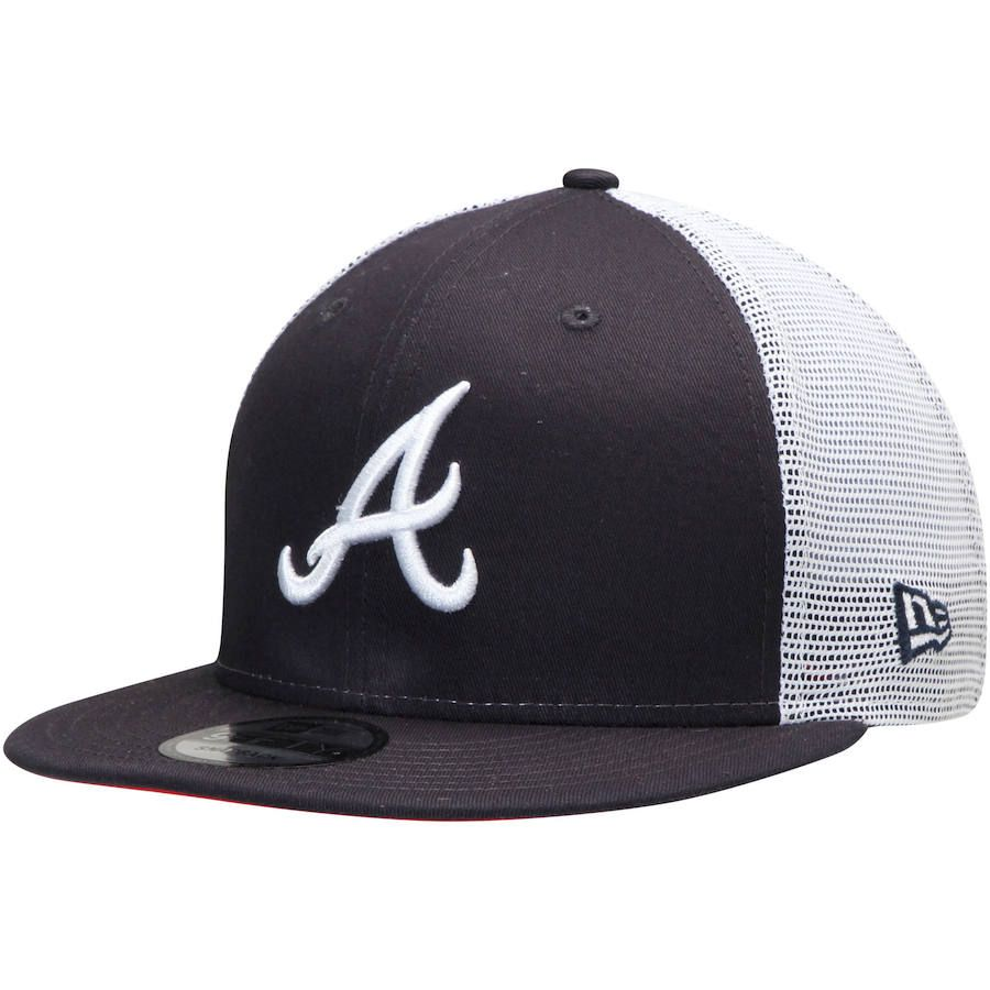 Men S Atlanta Braves New Era Navy League Patch 9fifty Trucker Hat Your Price 27 99 Braves Game Outfit Hats For Men Braves Hat