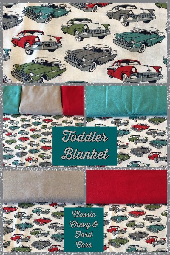 Toddler Blanket, Classic Cars, classic Chevy, classic Ford, 3 layer quilt construction, all cotton, Retro Cars