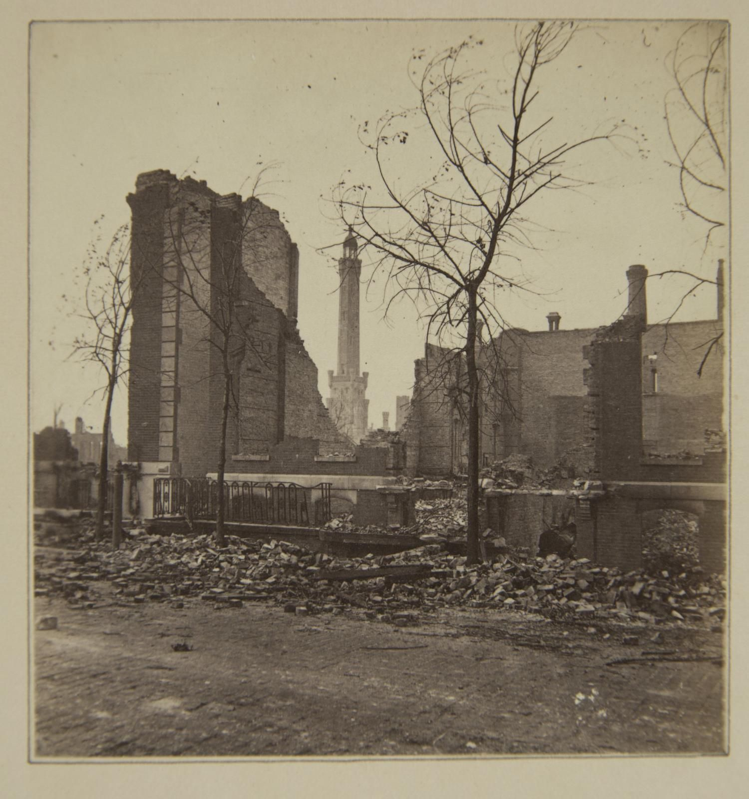 Chicago Fire Of 1871 Ruins About Water Works Chicago Fire